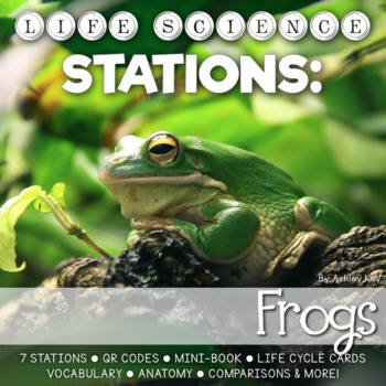 Frog Life Cycle Stations- Montessori Cards, Mini-Book, and More