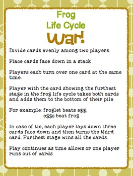 """Sequencing with Frog Life Cycle """"War"""" Card Game Science Center"""