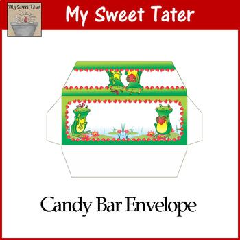 Frog Love Valentine Candy Bar Envelope