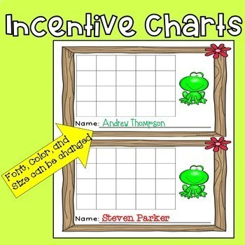 Incentive Charts with a Frog Theme