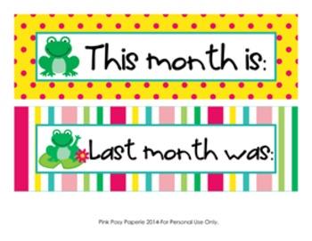 Frog Monthly Calendar Headers