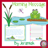 Frog Morning Message - CCSS aligned - Great for July or August
