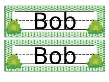 Frog Name Tags Desk Plates - Editable