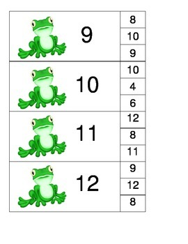 Frog Number Matching Clothespin Game