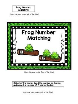Frog Number Matching File Folder Game