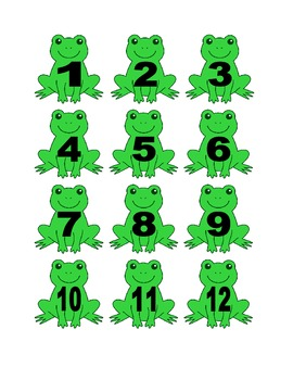 Frog Numbers for Calendar or Math Activity