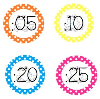 Frog Polka Dot Clock Numbers