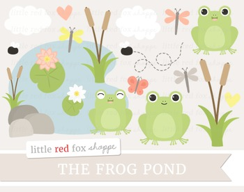 Frog Pond Clipart; Animal, Toad
