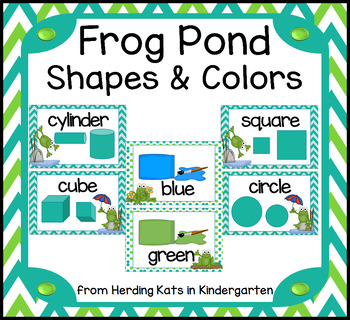 Frog Pond Themed Classroom Posters Shapes and Colors