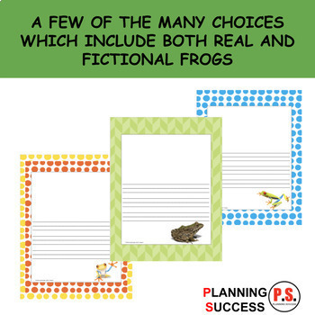 Frogs: Primary Writing Paper With Drawing Box and Without