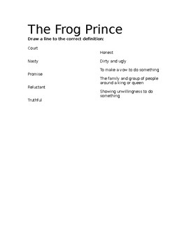 Frog Prince Vocabulary Page