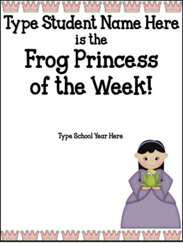 Frog Prince and Princess Star of the Week Packet and Poster