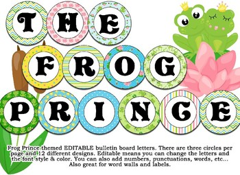 Frog Prince themed EDITABLE Bulletin Board Letters, Labels, word wall