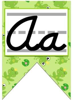 Frog Prince themed cursive Alphabet banner