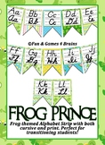 Frog Prince themed print and cursive Alphabet banner