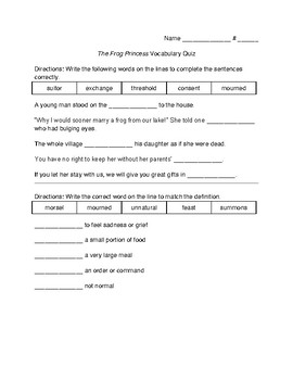Frog Princess Vocabulary and Comprehension Quiz