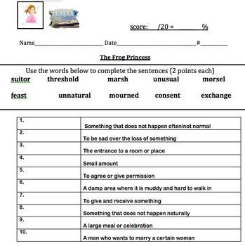Frog Princess Vocabulary and Vocabulary Quiz ReadyGen Unit 2A