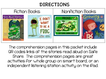 Frog QR Code Read Alouds with Comprehension Sheets