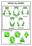 Frog Theme Shape Sorting Puzzle - NO PREP Math Activity -