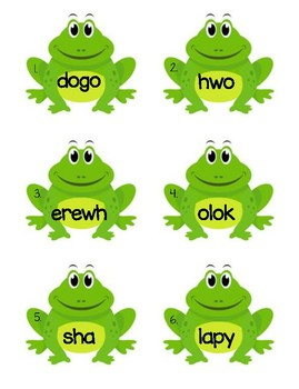 Frog Sight Word Scramble