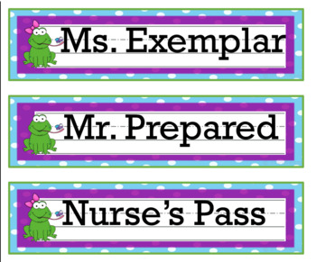 Frog Decor Student Name Tags Labels