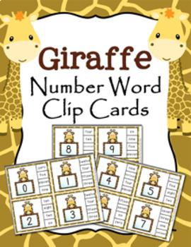 Giraffe Number Word Match Clip Cards