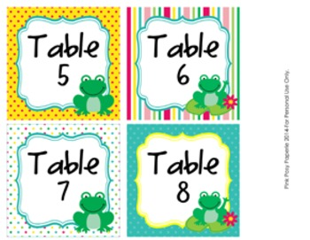Frog Table Numbers