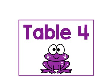 Frog Table Signs