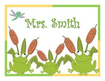 Frog Teacher or Student Name Sign Editable