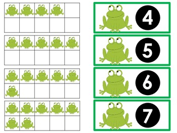 Tens Frame Flash Cards or Matching Game Cards With Numbers 0-10 Frog Theme