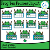 Frog Ten Frames Clipart