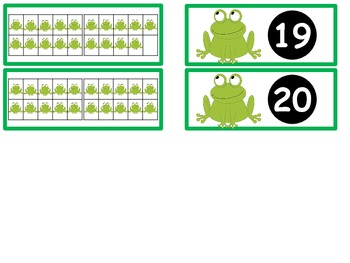 Tens Frame Flash Cards or Matching Game Cards With Numbers 0-20 Frog Theme