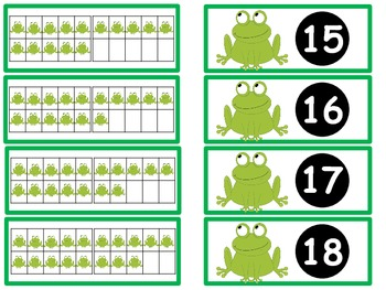 Tens Frame Flash Cards or Matching Game Cards With Numbers 11-20 Frog Theme