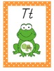 Frog Theme Alphabet Posters With Orange Border, Modern Manuscript and Print