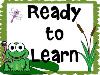 Frog Theme Behavior Clip Chart