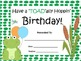 Frog Themed Birthday Certificates In 9 Different Colors!