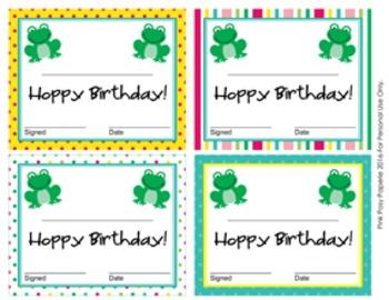 Frog Theme Birthday Certificates