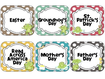 Frog Theme Calendar Cards