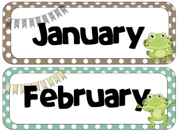 Frog Theme Calendar Headers | Months and Days of the Week