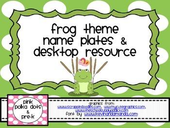 Frog Theme Name Plates / Desktop Resource Mat (ABC, Number