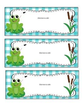 Frog Theme Classroom Decor - EDITABLE!