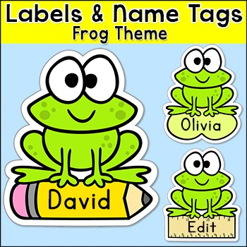 Frog Theme Classroom Decor - Name Tags and Labels - Editable