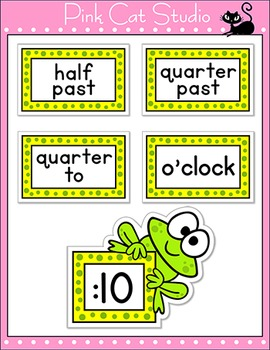 Telling Time Clock Labels - Frog Theme Back to School Classroom Decor