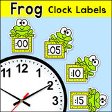 Frog Theme Classroom Clock Labels & Telling Time Worksheets