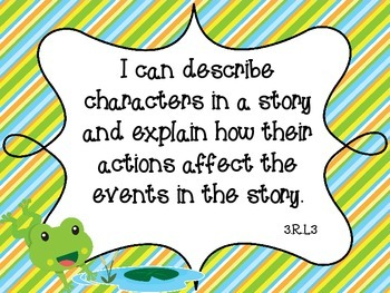 "Frog Theme Common Core Third ELA Standards ""I Can"""