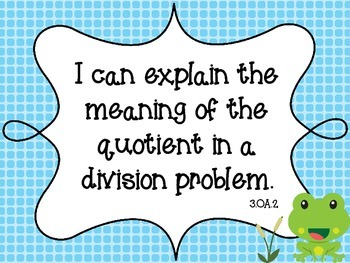 """Frog Theme Common Core Third Math Standards """"I Can"""""""