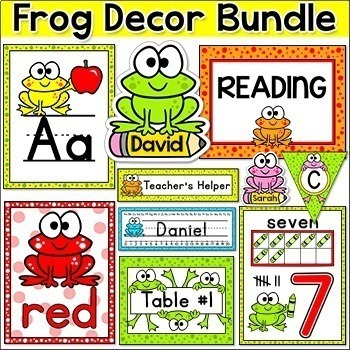 Frog Theme Decor Bundle: Job Labels, Binder Covers, Name Tags etc