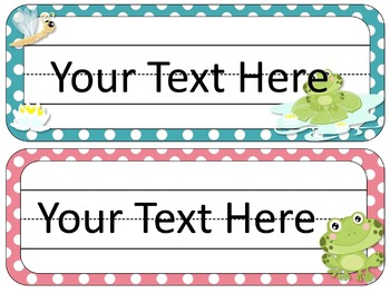 Frog Theme Desk Tags and Name Plates {EDITABLE}