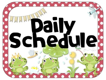 Frog Theme Editable Daily Schedule | Analog & Digital
