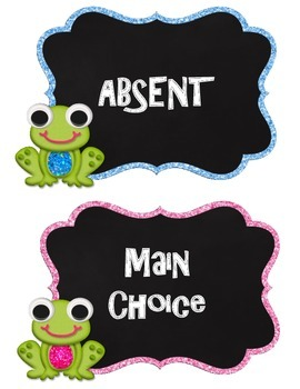 Frog Theme Lunch Choices